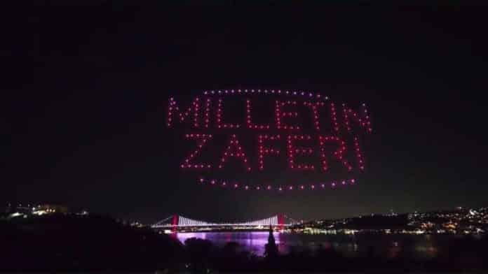 15 Temmuz etkinlikleri kapsamında 200 drone ile ışık gösterisi yapıldı