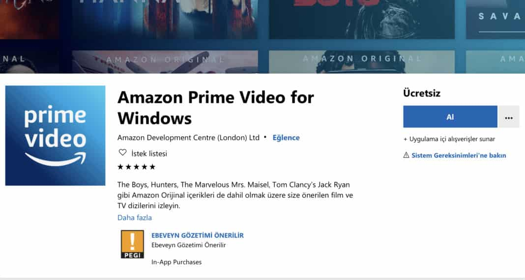 Amazon Prime Video'nun Windows 10 uygulaması çıktı