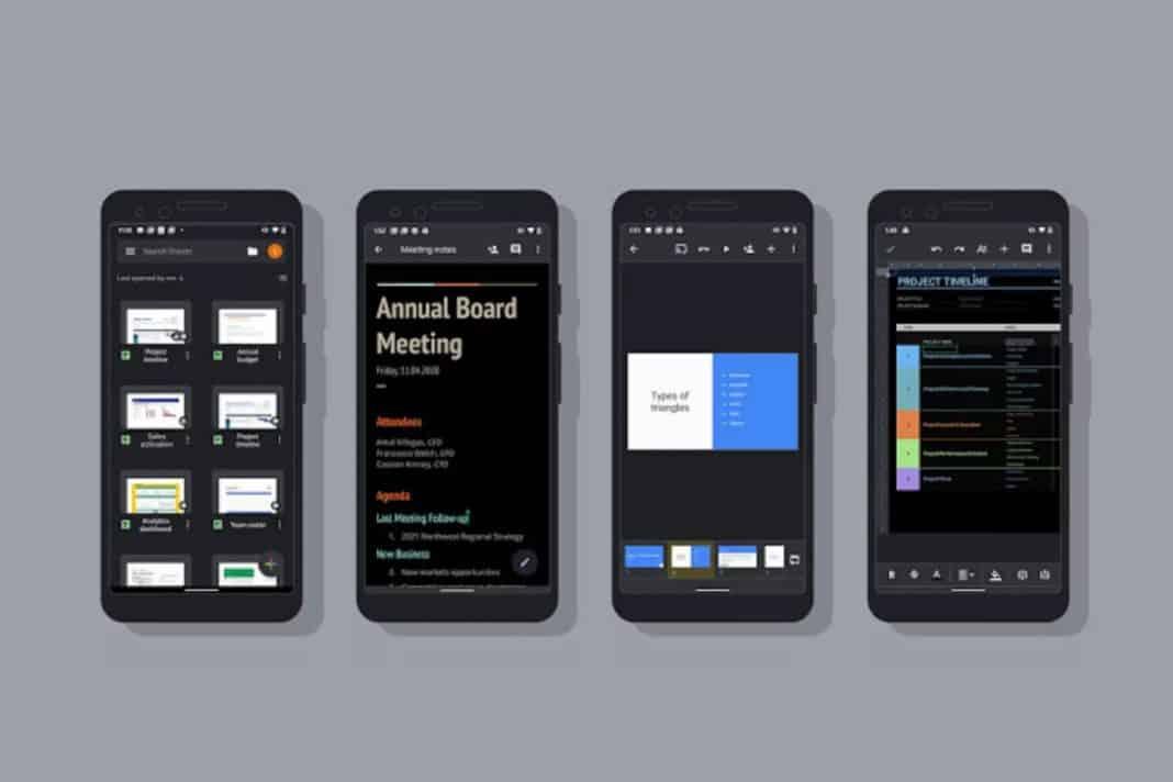 Google Dokümanlar, Hesap Tabloları ve Slaytlar için koyu mod desteği