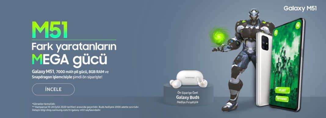 Yüksek pil kapasiteli Galaxy M51 Galaxy Buds hediyesiyle ön siparişte
