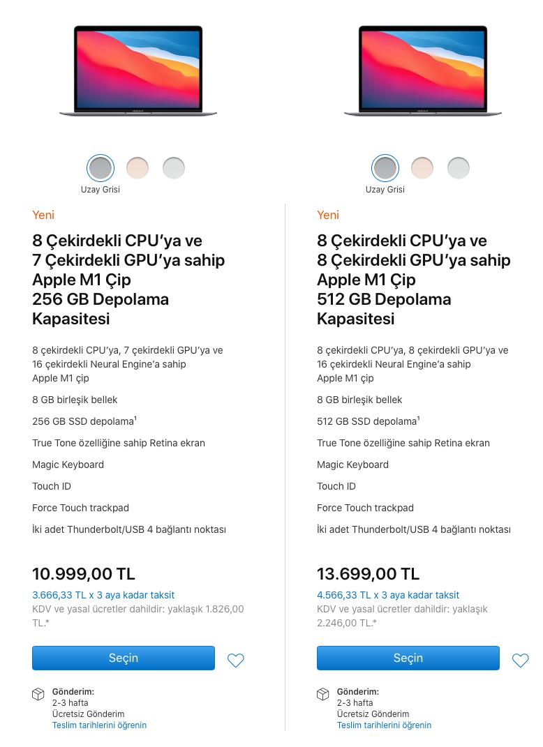 apple m1 macbook air türkiye fiyatları