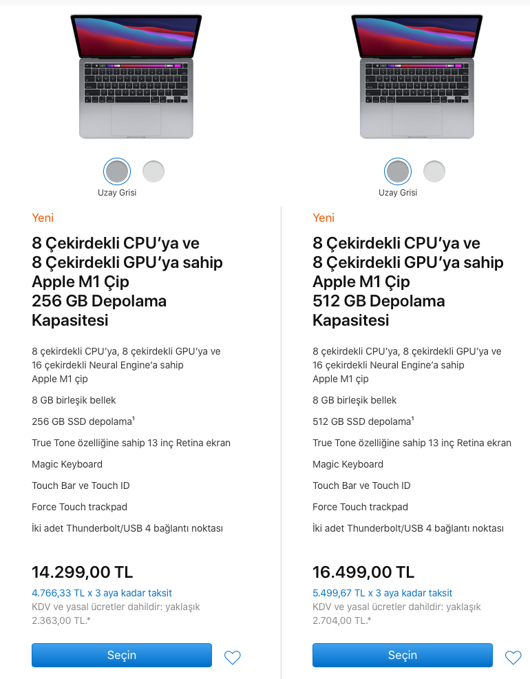 apple m1 13 inç macbook pro türkiye fiyatları