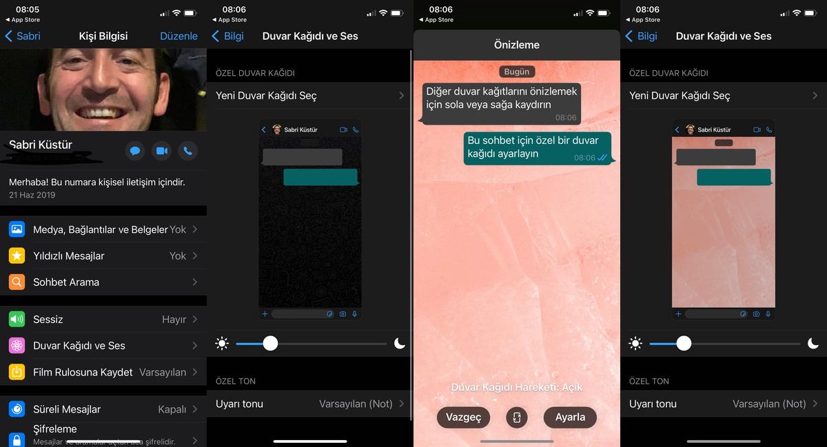 whatsapp sohbet duvar kağıdı ayarlama