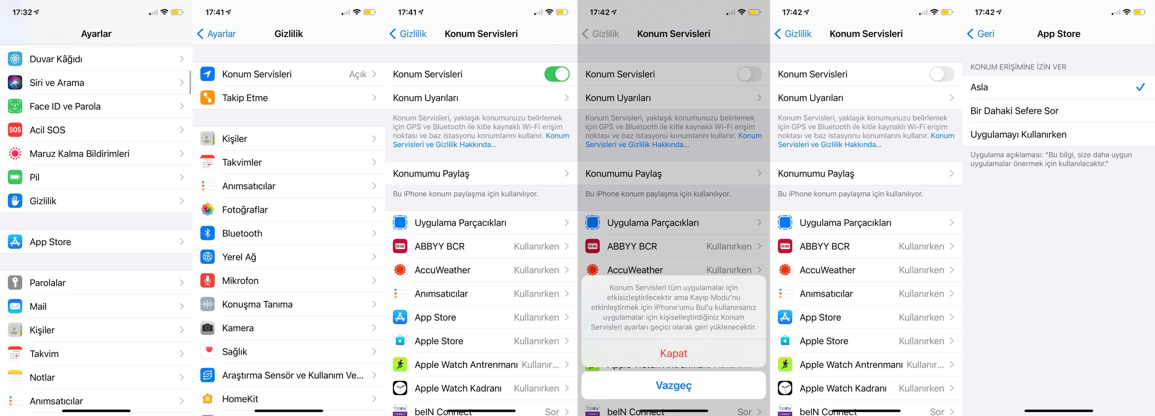 iphone konum servislerini kapatma