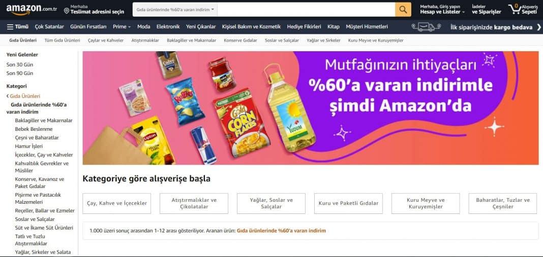 amazon.com.tr gıda ve içecek