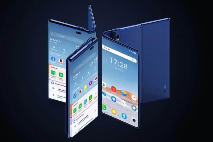 tcl fold 'n roll katlanabilir telefon