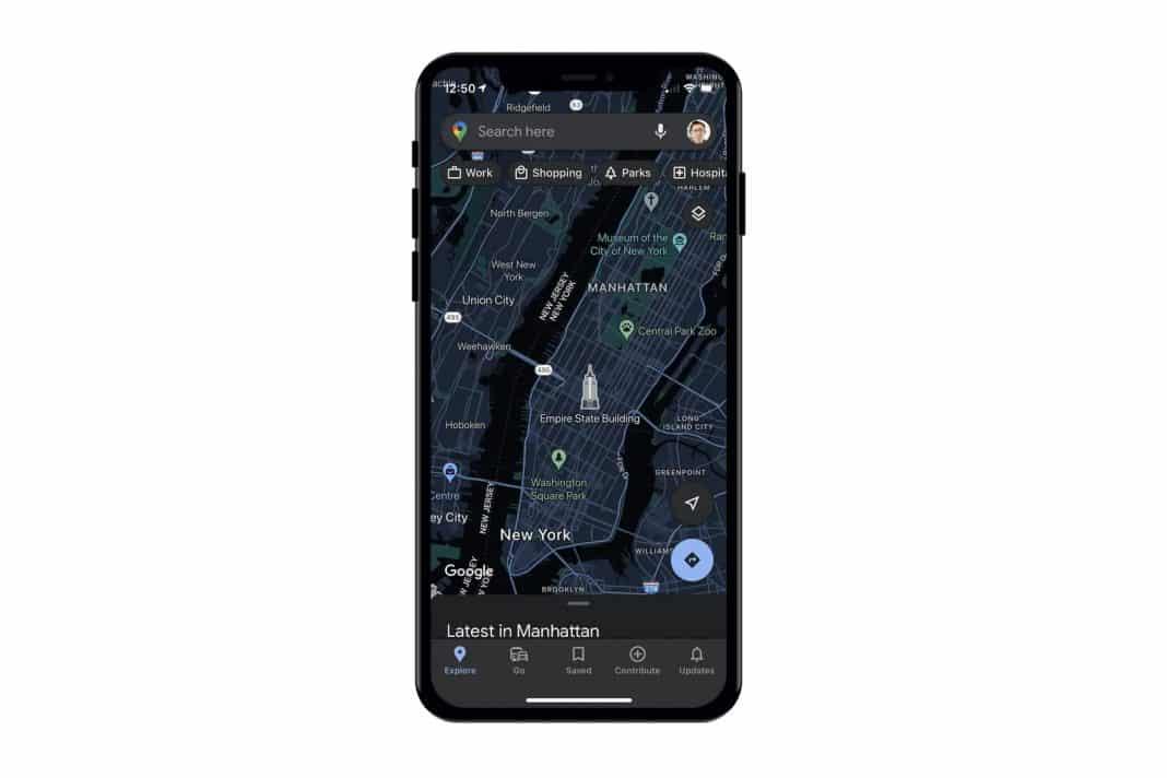 google haritalar ios koyu mod