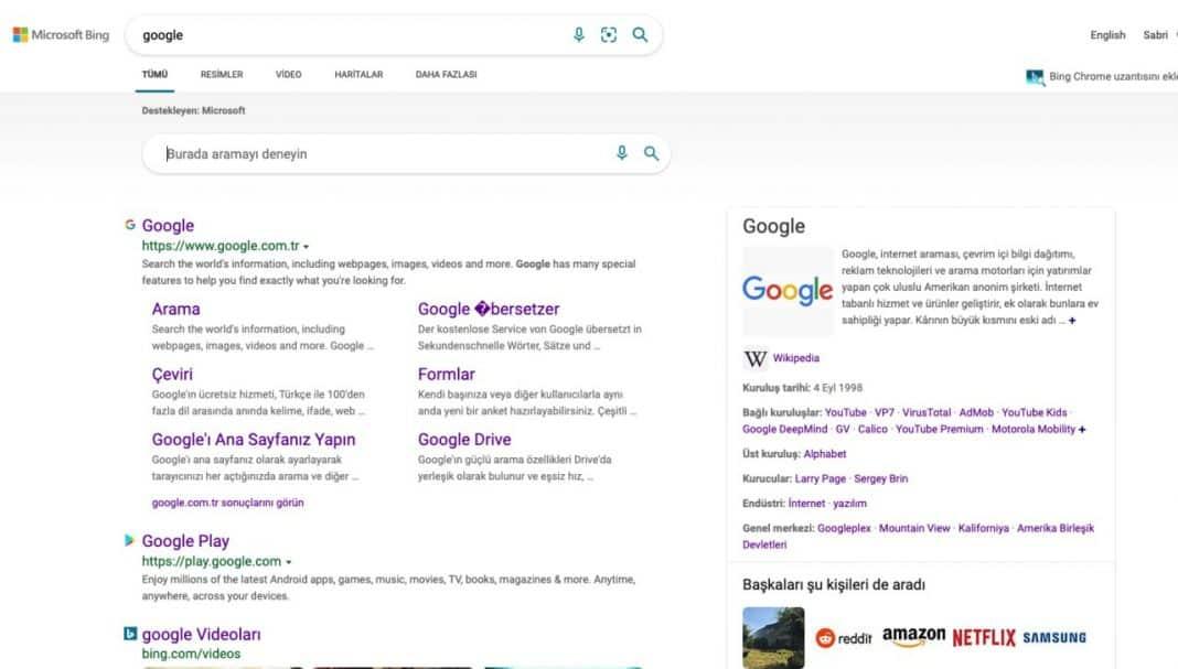 google arama motoru bing